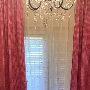 POTTERY BARN KIDS PINK DOT SHEER 44 X 96 INCHES